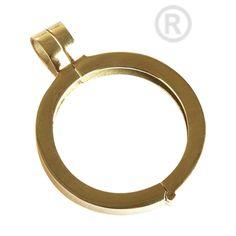 QHO-07-G - munt hanger edelstaal geel goud pvd verguld QHO-07-G Maat medium