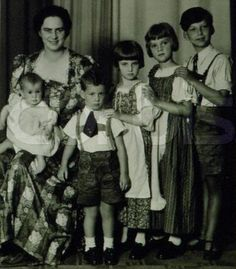 Ileana, Archduchess of Austria and her children Stefan, Maria, Alexandra, Dominic and baby Maria in 1940.