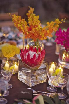 Tropical floral centerpiece  Flowers by Heidi  Four Seasons Resort Hualalai Weddings