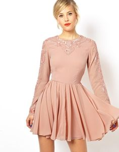 ASOS Gothic Embellished Skater Dress  I have this and I love it! Flirty skirt, great movement, pretty pretty embellishments.