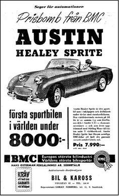 Austin Cars, Frog Eye, Austin Healey Sprite, Commercial Vehicle, Mk1, Sweden, Sprites, Art Google, Motors