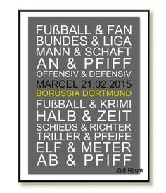 Art Print Soccer Borussia Gift Husband Friend of Word Art Poster on DaWand … - Home Page Photo Quotes, Poster On, Gifts For Husband, Word Art, Cool Photos, Birthday Gifts, Lettering, Activities, Art Prints