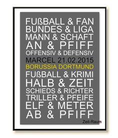 Kunstdruck Fußball Borussia Geschenk Mann Freund von Word-Art-Poster auf DaWanda.com