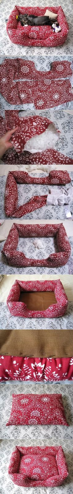 why buy a boring brown dog bed when you can have a customized and unique one that fits with your decor! DIY dog bed