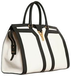 Yves Saint Laurent Medium Cabas Chyc Leather Top Handle in Beige (white)