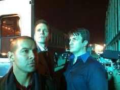 Jon Huertas, Seamus Dever, and Nathan Fillion. BTS of Castle.