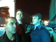 Jon Huertas, Seamus Dever, and Nathan Fillion. BTS of Castle.