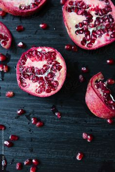 Close up of sliced pomegranate and seeds by Kirsty Begg - Fruit, Pomegranate - Stocksy United Dietary Guidelines For Americans, Strange Fruit, Fruit Photography, Fruit Slice, Recipe Using, Food Styling, Seeds, Food Porn, Nutrition