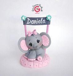 Elephant Cake Topper, Baby shower centerpiece, children's birthday cake topper