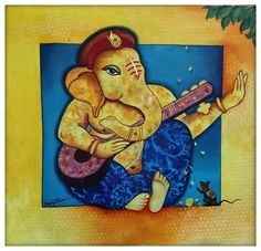 Abstract Painting Techniques, Easy Canvas Painting, Diy Canvas Art, Figure Painting, Mini Canvas, Ganesha Drawing, Lord Ganesha Paintings, Ganesha Art, Art Village