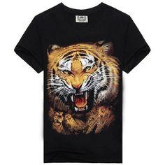 Tiger Face Mens 3D Short-Sleeved T-Shirt