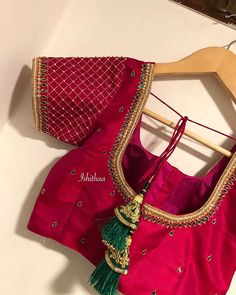 Simple grid detailed blouse customised for dear Ajiba. Simple grid detailed blouse customised for dear Ajiba. Cutwork Blouse Designs, Best Blouse Designs, Simple Blouse Designs, Stylish Blouse Design, Bridal Blouse Designs, Blouse Neck Designs, Simple Designs, Hand Work Blouse Design, Designer Blouse Patterns