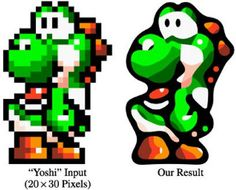 The image displays the early pixel Yoshi from Super Mario and the more modern version.