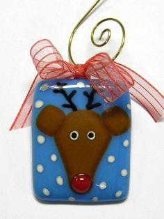 Reindeer Holiday Ornament  Fused Glass Wire Ribbon  by nphillippe, $18.00