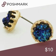 💙 Gold and Blue Simulated Druzy Earrings Simulated Druzy Irregular Shape Stud Earrings Color : GOLD-BLUESize : Length: 10mm Jewelry Earrings