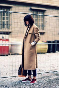 camel coat from Leon & Harper