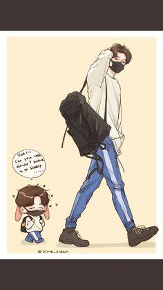 Jungkook and Kookie! Bts Chibi, Anime Chibi, Bts Anime, Anime Guys, Fanart Bts, Jungkook Fanart, Jungkook Cute, Vkook Fanart, Jikook