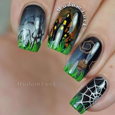 Some multi layered stamping tonight using @uberchicbeauty 's Halloween 1 plate. I did add in some fine details with acrylic paints to give more life to some areas and I love the final result! You can find this plate on @uberchicbeauty 's website- link is in their bio. For the stamping polishes I used a mix between @mundodeunas and @joliepolish . small_orange_diamondsmall_orange_diamondsmall_orange_diamondsmall_orange_diamond And top coat used is @kbshimmer 's quick dry top coat.