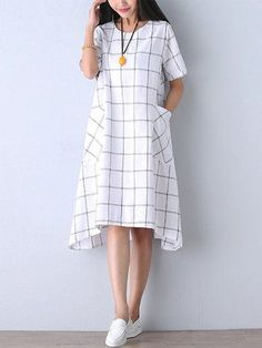 Casual Women Check Pocket Knee-length Cotton Linen Dress
