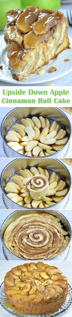 This Upside Down Apple Cinnamon Roll Cake is made with refrigerated crescent roll dough, peeled and sliced fresh apples, no need to cook them first and homemade caramel sauce that can be done in just 5 minutes! Apple Recipes, Fall Recipes, Baking Recipes, Sweet Recipes, Just Desserts, Delicious Desserts, Dessert Recipes, Yummy Food, Dessert Food