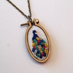 Pretty Peacock Mini Embroidery Hoop Necklace by IttyBittyBunnies on Etsy