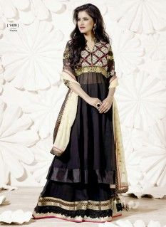 Gratifying black resham and patch border work anarkali suit with embroidery and border work.pair with mathcing bottom and dupatta.