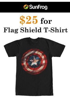 At Sunfrog Shirts, they are offering flag shield t-shirt just at $25. Captain America is Americas most beloved hero on the Marvel captain America shield flag black t-shirt.. For more Sunfrog Shirts Coupon Codes visit:  www.couponcutcode.com/coupons/25flag-shield-shirt/