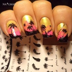 Nails Art & Tools Beauty & Health 1x Nail Sticker Palm Tree Flamingos Water Transfers Stickers Nail Decals Stickers Water Decal Opp Sleeve Packing Yu665 Always Buy Good