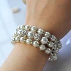 Three-strand Pearl Beads Wide Bracelet-1