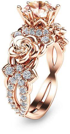 Etsy 14K Rose Gold Morganite Engagement Ring Unique Morganite Engagement Ring Rose Gold Floral Engagement