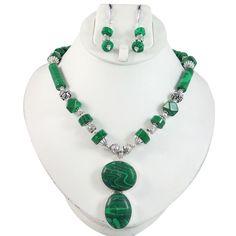Malachite Stone Silver Tone Beaded Pendant Necklace Earring Set Women Jewelry #Iba