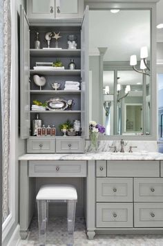 Sophisticated bathroom features gray vanity cabinets paired with a statuary marble countertop. Source by bathroomj The post Sophisticated bathroom features gray vanity cabinets paired with a statuary marb& appeared first on Mahdi DIY. Bad Inspiration, Bathroom Inspiration, Dressing Design, Ideas Baños, Decor Ideas, Tile Ideas, Decorating Ideas, Grey Baths, Bathroom Renos