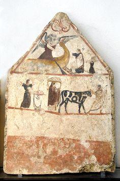 Caronte - Lastra tombale da Andriuolo Greek Pottery, Ancient Artifacts, Ancient Greece, Fresco, Vintage World Maps, Minoan, Sculpture, Roman, Photography