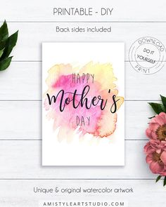 Happy Mother's Day Watercolor Card - Happy Mother's Day - on watercolor stain background in pink and yellowThis unique Mother's day printable card is prepared in high-resolution PDF and JPG file, so you can DIY print it at home or at your local copy shop by Amistyle Art Studio on Etsy