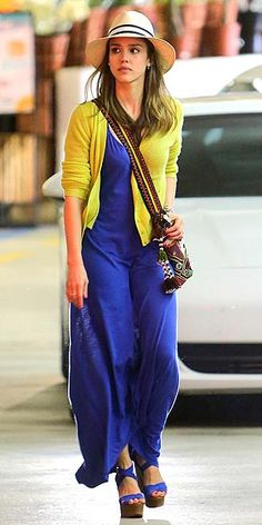 Jessica Alba rocks the summer casual look in a cotton maxi dress and matching wedges