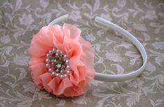 Pearl, Rhinestone and Pearl Headband, Formal Headband, Flower Girl Headband, Girl Headband, Hard Headband, Photo Prop