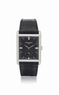 Patek Philippe. A fine 18K white gold and diamond-set rectangular wristwatch. circa 2006. #watch #ChristiesWatches