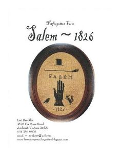 NEW 2010 - Salem 1826 - cross stitch pattern. $8.00, via Etsy.