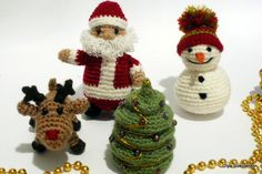 Christmas toys set Santa Claus reindeer Rudolph Snowman Tree Crochet toys Christmas gifts (50.00 USD) by KnittedJoy1
