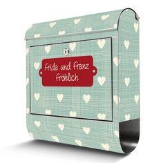 Briefkasten mit Wunschtext   banjado Manufaktur Box, Etsy, Stainless Steel, Craft Gifts, House Entrance, Names, Snare Drum
