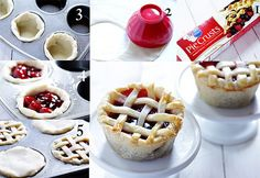 """Your favorite pie in """"mini me"""" size. So cute, so easy — and so delish! Oh my goodness. These Mini Pies in a Cupcake Tin may be one of the cutest recipes I've ever made! Just Desserts, Delicious Desserts, Dessert Recipes, Yummy Food, Appetizer Recipes, Mini Pizzas, Muffin Tin Recipes, Muffin Tins, Mini Foods"""