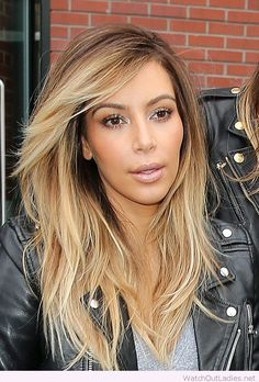 Cute Kim Kardashian blonde long layers