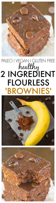 Healthy 2 Ingredient Flourless Brownies made with NO BOXED mix- Just Bananas and cocoa powder! SO EASY and the cure for any sweet tooth! {vegan, gluten free, paleo recipe}- thebigmansworld.com