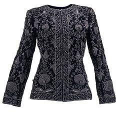 f4747e728 80s de la Renta (Attributed) Black Heavily Embellished Velvet Evening  Jacket | From a