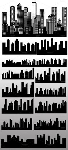 Skylines Buildings Silhouettes Vecto by TrueMitra Designs on Creative Market