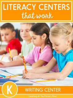 This writing center resource for Kindergarten includes printable writing activities for all year long, lesson plans to introduce the activities, writing center tools and supports, and kid-friendly directions! This resource provides an organized system for managing your writing center. | Learning at the Primary Pond Writing Center Kindergarten, Kindergarten Reading, Kindergarten Activities, List Of Activities, Writing Activities, Activity Centers, Literacy Centers, Teaching Procedures, Teaching Ideas