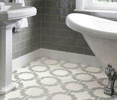 Grey patterned flooring in a bathroom