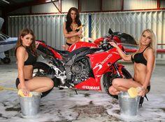#babe #chick #motor #motorcycle #biker #girl #carwash #motorwash #washing
