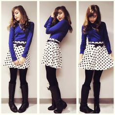 I love the cobalt color mixed with the polka dot skirt.