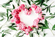 Floral heart with peonies by Floral Deco on @creativemarket